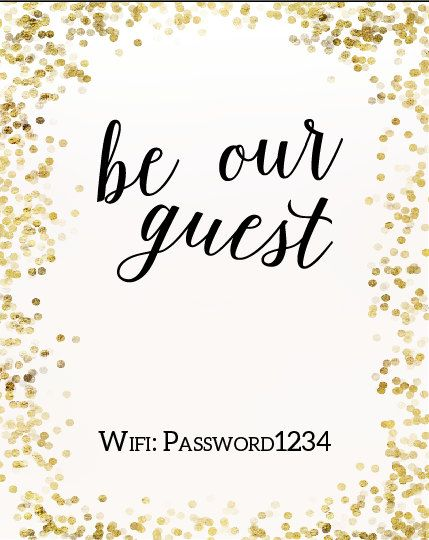 Gold Glitter Confetti Be Our Guest Wifi by LittleOwlLittleBear
