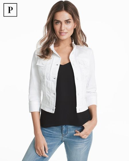 Everything you love about our classic jean jacket now in crisp white denim. This new take on a classic will soon become a staple you will want to wear year-round. Slimming seams, white metal buttons and subtle distressing make this your new go-to layer to wear over everything from our City Tees to overtly feminine maxi dresses.  Petite three-quarter sleeve white denim jacket Notched collar; button front; button sleeve detail Patch pockets; fitted seam detail; subtle distressing White metal…