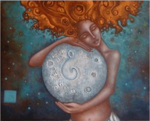 Mujer-con-luna-gigante