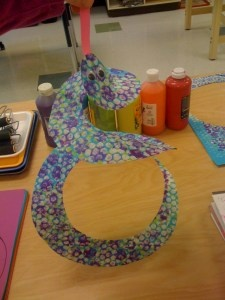 Bubble wrap printmaking snakes - great combination of two good crafts