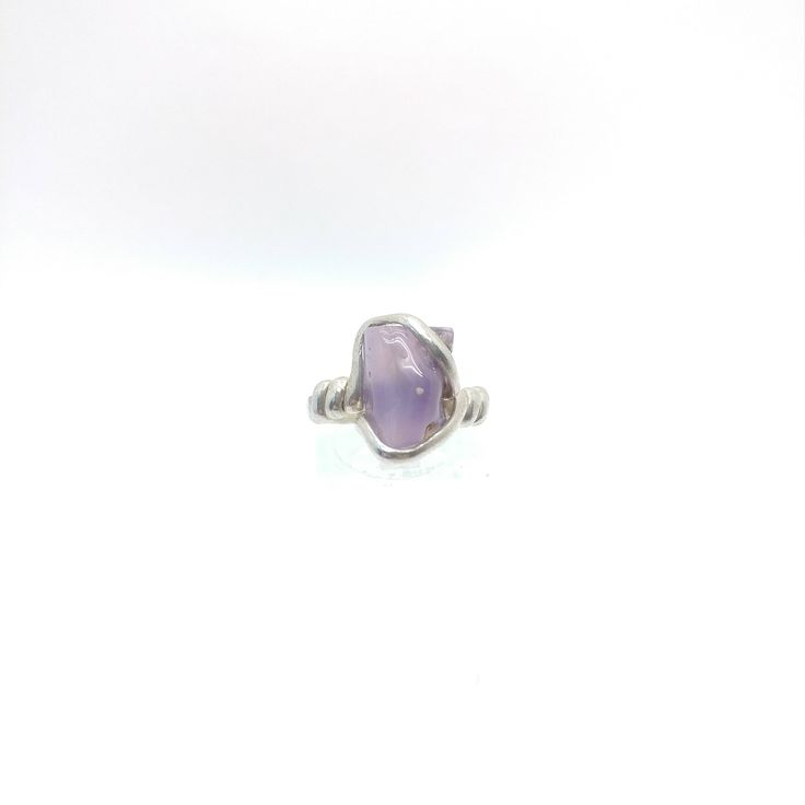 Holley Blue Agate Ring | Purple Chalcedony Ring | Eco Friendly Sterling Silver Ring Sz 6 | Purple Stone Ring | Raw Cut Stone Ring by RYWJewelry on Etsy