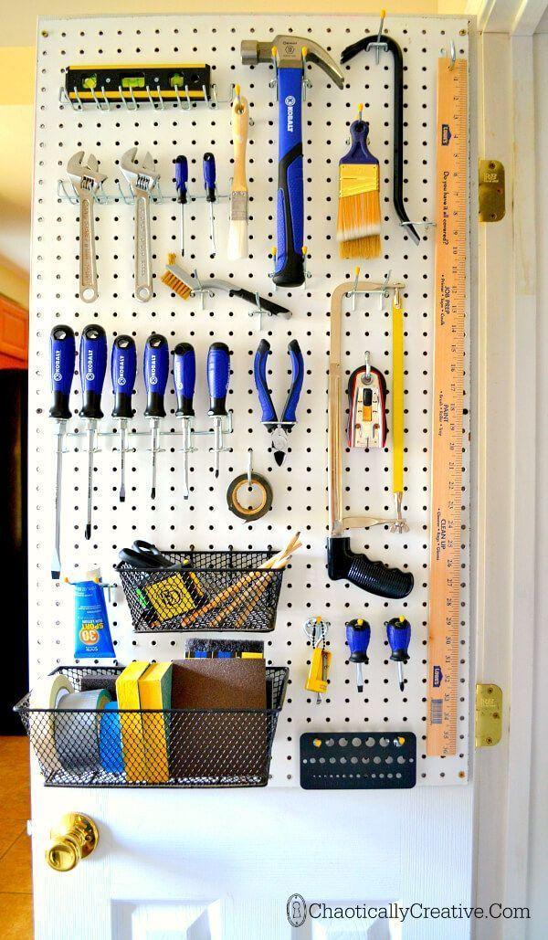 Tool storage closet doors and tools on pinterest for Closet world garage