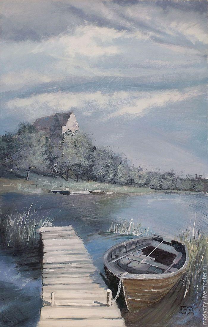 Acryl painting / Купить картина Озеро. Лодка. Причал. (синий, голубой, серый, лофт) - голубой, картина лодка