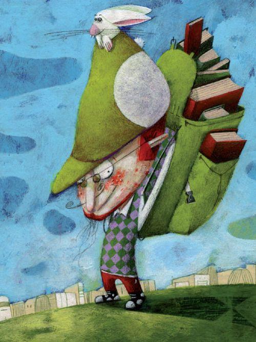 Este lector seguro que viene de la biblioteca pública: repostando lecturas ( ilustración de Steven Van Hasten)