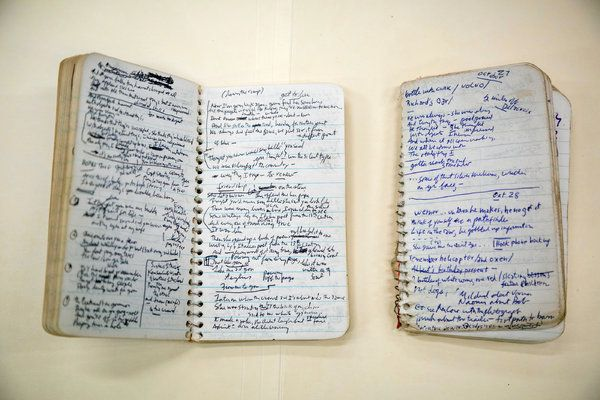 """Notebooks containing lyrics from Mr. Dylan's 1975 album """"Blood on the Tracks."""" Bob Dylan's Secret Archive - The New York Times"""