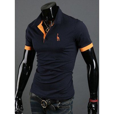 Fashion Style Turn-down Collar Slimming Solid Color Animal Print Short Sleeves Men's Polyester Polo Shirt-14.20 and Free Shipping| GearBest.com