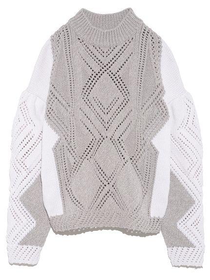 レーシージオメトリックセーター(ニット)|FURFUR(ファーファー)|ファッション通販|ウサギオンライン公式通販サイト