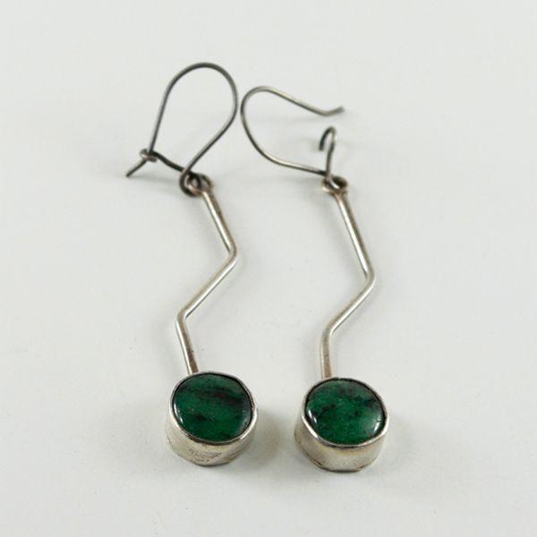 Yeşim Taşlı Küpe (Silver Earrings with Jade Stone) - ZFRCKC Jewelry Design -www.zfrckc.com