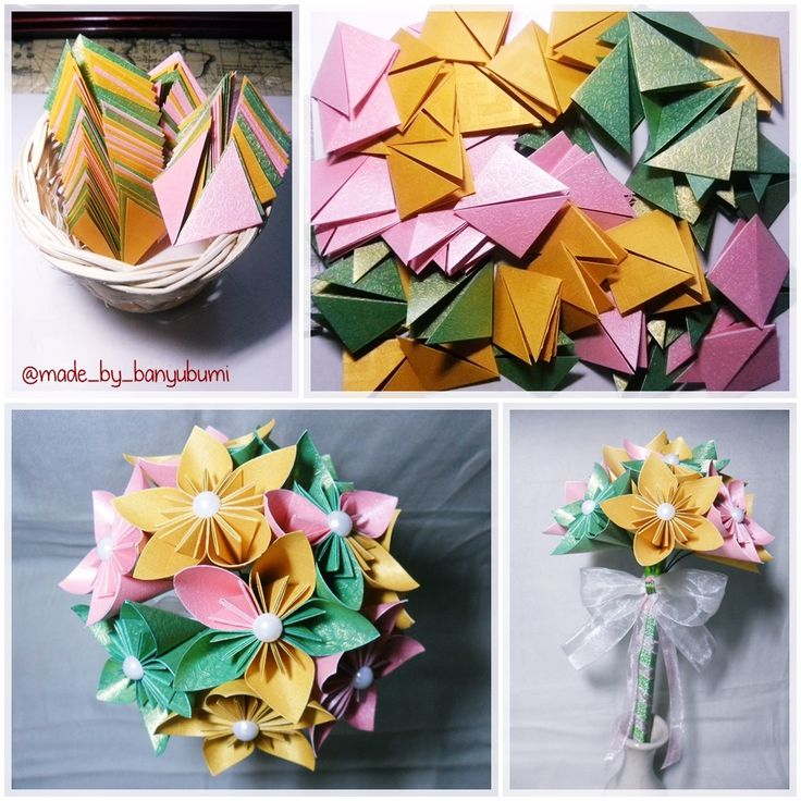 Kusudama flower origami bouquet | Pink, yellow, & green paper | Instagram @made_by_banyubumi | #origami #paperfolding #origamiflower #bouquet #flower #handmade #DIY #origamiwork