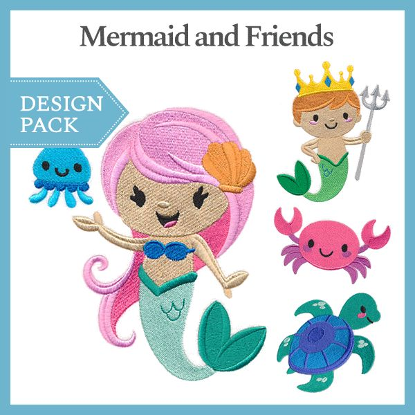 A Mermaid and Friends Design Pack - Lg design (X13457) from www.Emblibrary.com