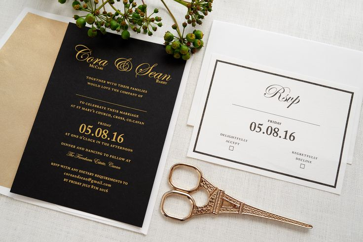 Black & Gold wedding invitations.  5 x7""