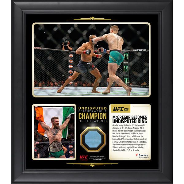 Conor McGregor Ultimate Fighting Championship Fanatics Authentic Framed 15'' x 17'' UFC 194 Undisputed Featherweight Champion Collage with a Piece of Canvas From UFC 194 - $89.99