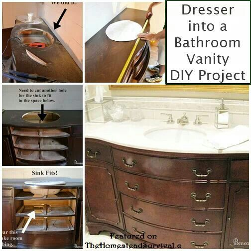 Surprising Old Dresser Into Bathroom Vanity Decorating Dampretro Net Home Interior And Landscaping Analalmasignezvosmurscom