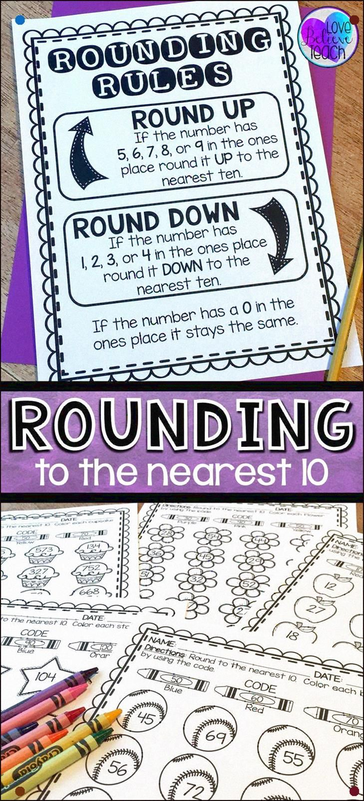 Rounding Numbers To The Nearest 10 Are A Snap With This Mini Anchor Chart And Printable Activities No Pr In 2020 Rounding Numbers Mathematics Worksheets Anchor Charts