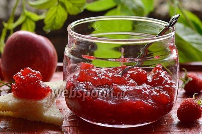 «Яблочно-малиновое повидло»:  Вода 50 млМалина свежая 300 г  Малина свежая  Сахар 400 гЯблоко 700 г