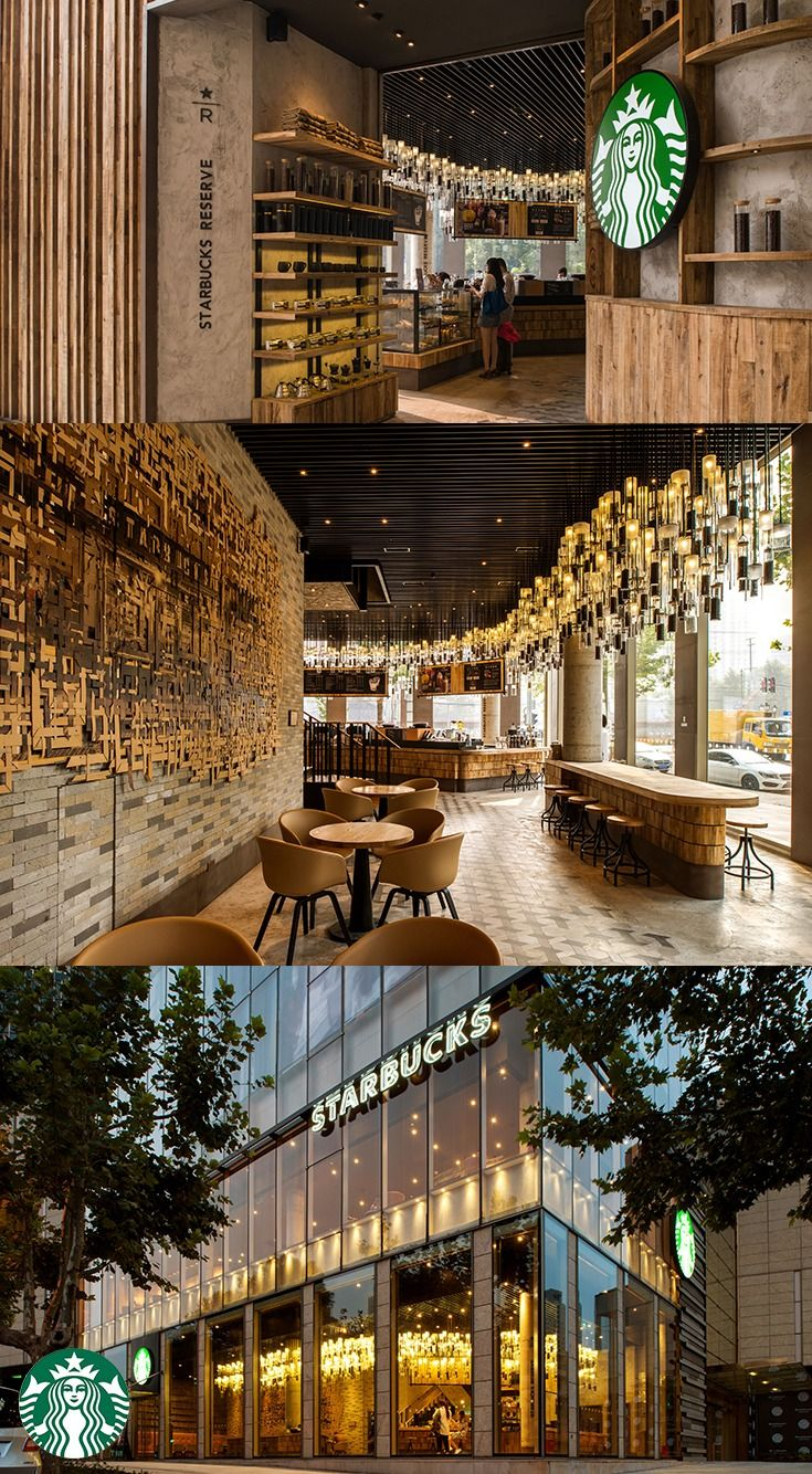 "The Starbucks Corporate Ave. store, located near the popular shopping and dining district of Xintiandi, Shanghai, is everything but conventional. This two-story store contains three different coffee bars that have fully embraced a ""coffee lab"" aesthetic. Custom chandeliers referencing the three different stages of coffee roasting, salvaged clay roof tiles and vistas of the Shanghai skyline further enhance this cozy lounge atmosphere."
