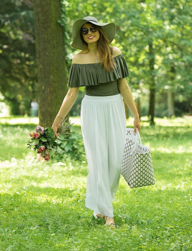 Sommerliches Picknick Outfit mit Maxi-Rock und Offshoulder-Bluse! <3