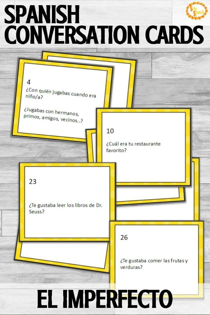 El Imperfecto Imperfect Conversation Cards In 2020 Conversation