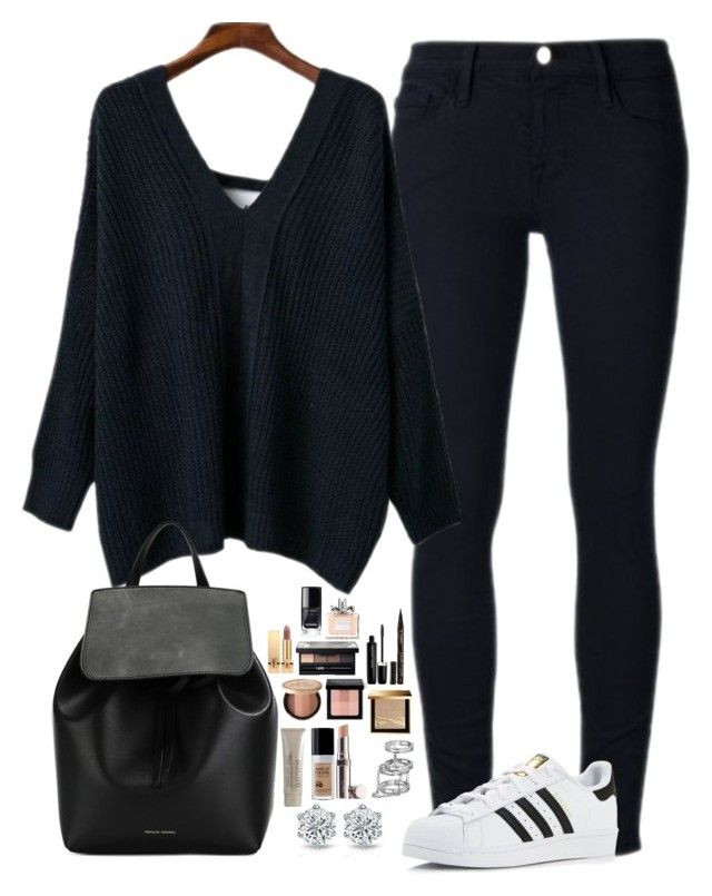 """""""Untitled #466"""" by mariapangal on Polyvore featuring Frame Denim, adidas, Mansur Gavriel, La Mer, Burberry, Laura Mercier, Bobbi Brown Cosmetics, Too Faced Cosmetics, Smith & Cult and Marc Jacobs"""