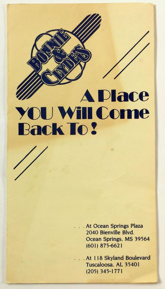 1980's Vintage Menu BONNIE & CLYDE'S Restaurant Ocean Springs MS & Tuscaloosa AL