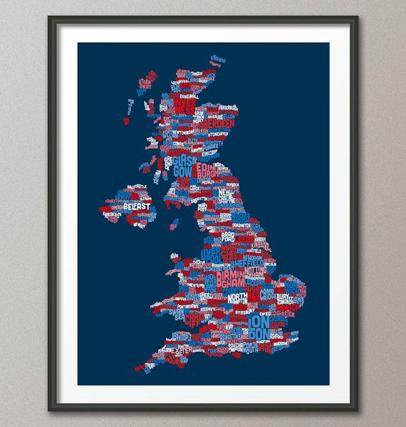 Great Britain UK City Text Map Art Print  12x16 to by artPause, £12.99