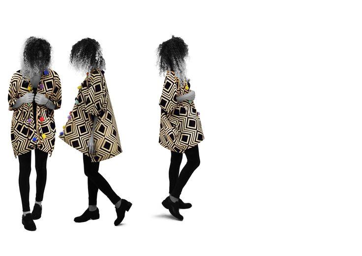 #fullsquare #knit #kimono #handmade #pompoms #one-of-a-kind #knitwear #cleogkatzeliinspirations #gkatzeli.com
