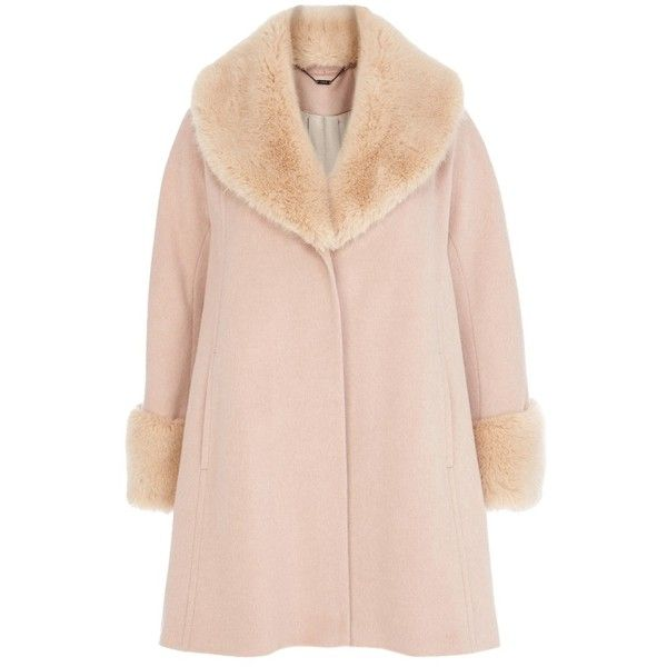 Coast Constanta Coat, Blush ($345) ❤ liked on Polyvore featuring outerwear, coats, long sleeve coat, pink coat i faux fur collar coat