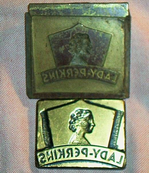 2 Cool, Vintage,  small Printers Block/Stamps Adversising, LADY PERKINS Clothing(?), Nice, clean Graphics!, heavy metal (brass?), VG+ by brotoys1 on Etsy