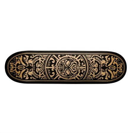 Polynesian Tribal Face Wood Grain Custom Skateboard