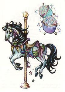 e-bay.com carousel art | SWEET-MERRY-GO-ROUND-CAROUSEL-HORSE-CUPCAKES-TEMPORARY-TATTOO-SHEET-3 ...