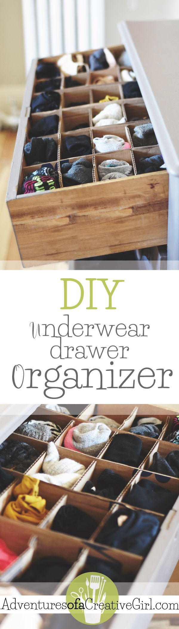 Learn how to make your own underwear drawer organizer for FREE with materials you have around the house! Step-by-step instructions with pictures.
