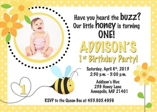 Honey Bee Birthday Invitation Printable Sleepingowlcreations