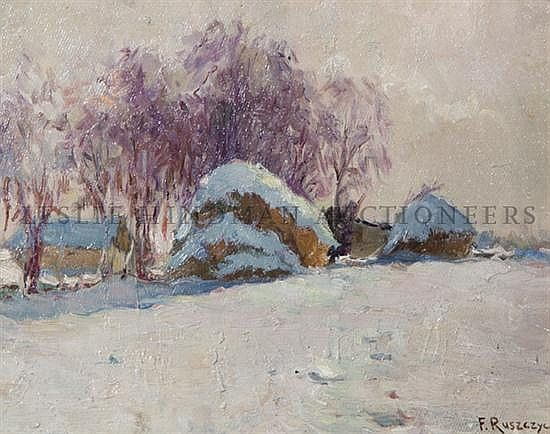 Ferdynand Ruszczyc (Polish, 1870-1936) Winter Landscape signed (lower right)10 x 13 inches.