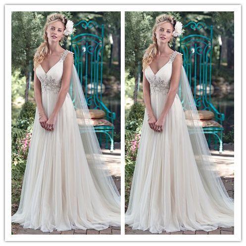 V-neck Tulle Rhinestone 2016 Vantage Wedding Dress #W020