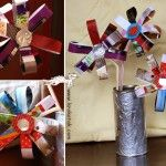 Flowers made from recycled magazines and plastic bottle caps. Great for Earth Day.