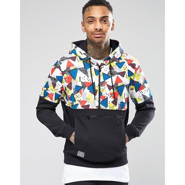 New Era Walala Hoodie With Printed Panel (£42) ❤ liked on Polyvore featuring men's fashion, men's clothing, men's hoodies, black, mens tall hoodies, mens sweatshirts and hoodies, mens hoodies and mens cotton hoodies