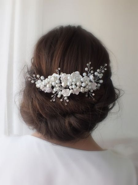 Pearl hairpiece pearl hair comb wedding comb from Weddinggloves by DaWanda.com