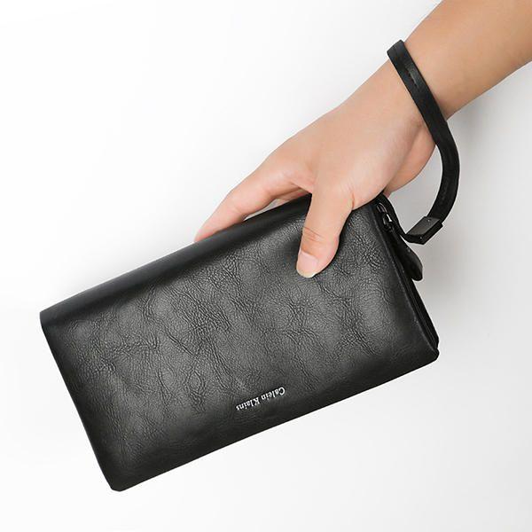 da670dff39cc0 12 Card Slots Men PU Leather Minimalist Clutch Bag Wallet Casual Business  Card Holder Purse
