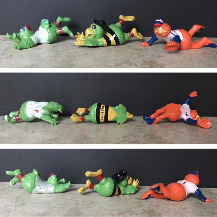 #pvc #pvcfigures #mlb #80s #expos #phillies #pirates #youppi #phillyphanatic #pirateparrot #montreal #philadelphia #pittsburgh #toys #vintage #baseball #mascot #mascots #sliding #diving #collectibles