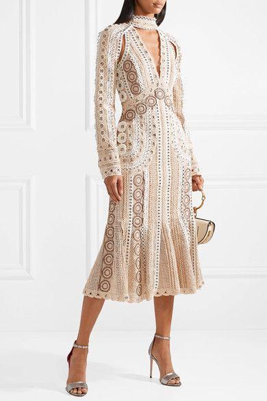 Jonathan Simkhai | Embellished cutout crocheted lace midi dress | NET-A-PORTER.COM