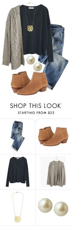 """Bad ootd look a like // in a rush"" by madelyn-abigail ❤️ liked on Polyvore featuring Wrap, Jack Rogers, MANGO, Madewell and Carolee"