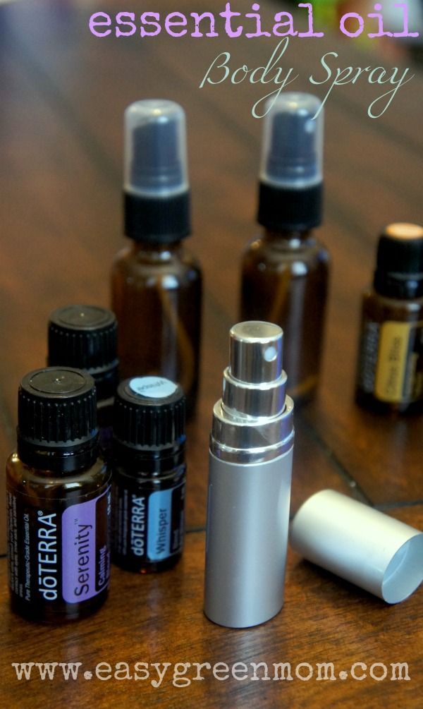 DIY Essential Oils Body Mist. You simply add 5-10 drops of essential oil to 4 ounces of water and shake well. You can experiment and find the mixture that works for you.