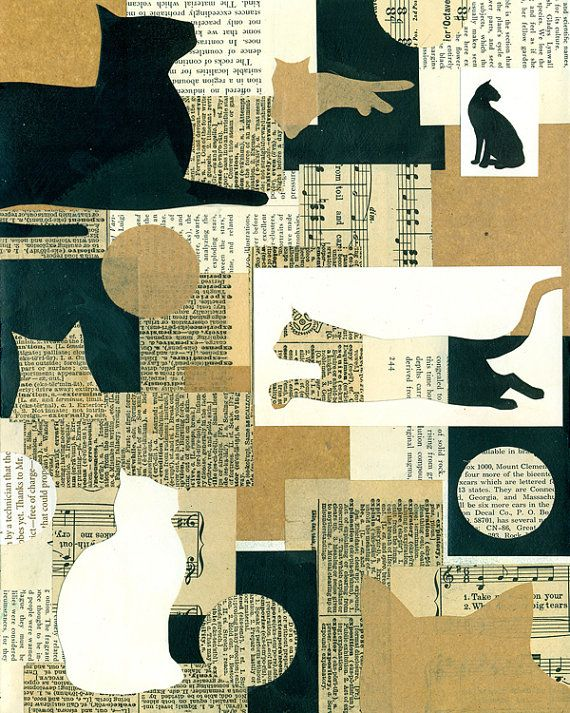 collage type silhouette cats cut out PRINT by ElizabethRosenArt More