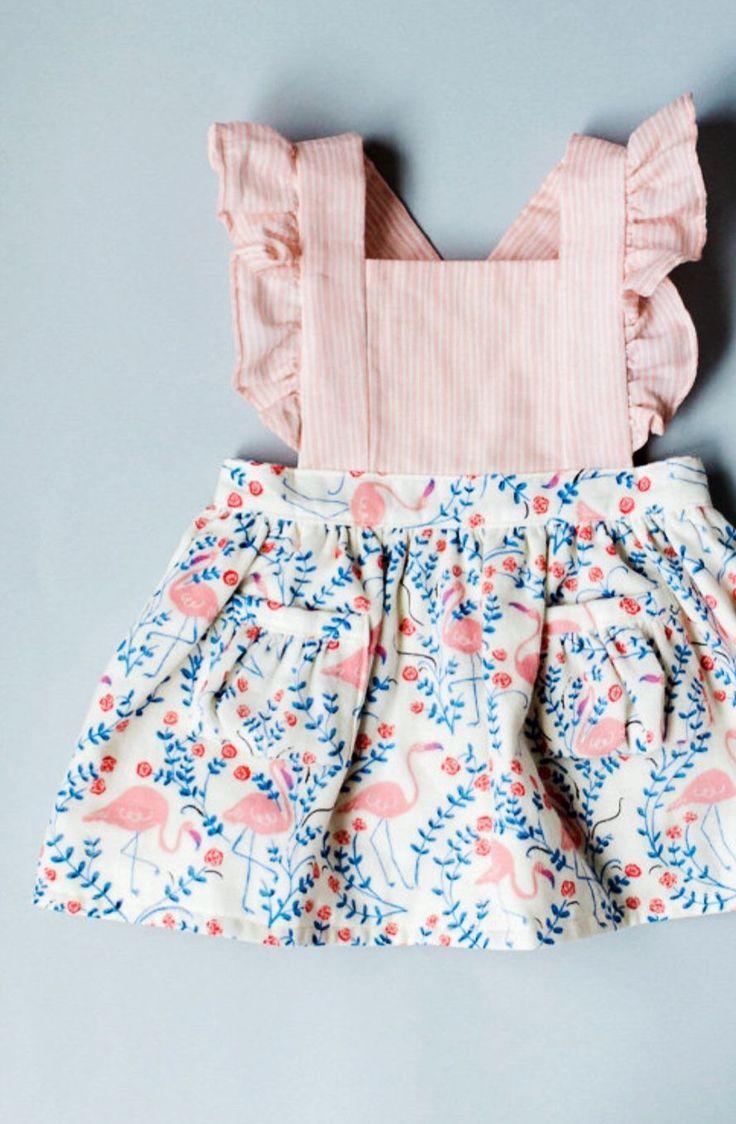 baby clothing handmade cotton linen flamingo print pinafore