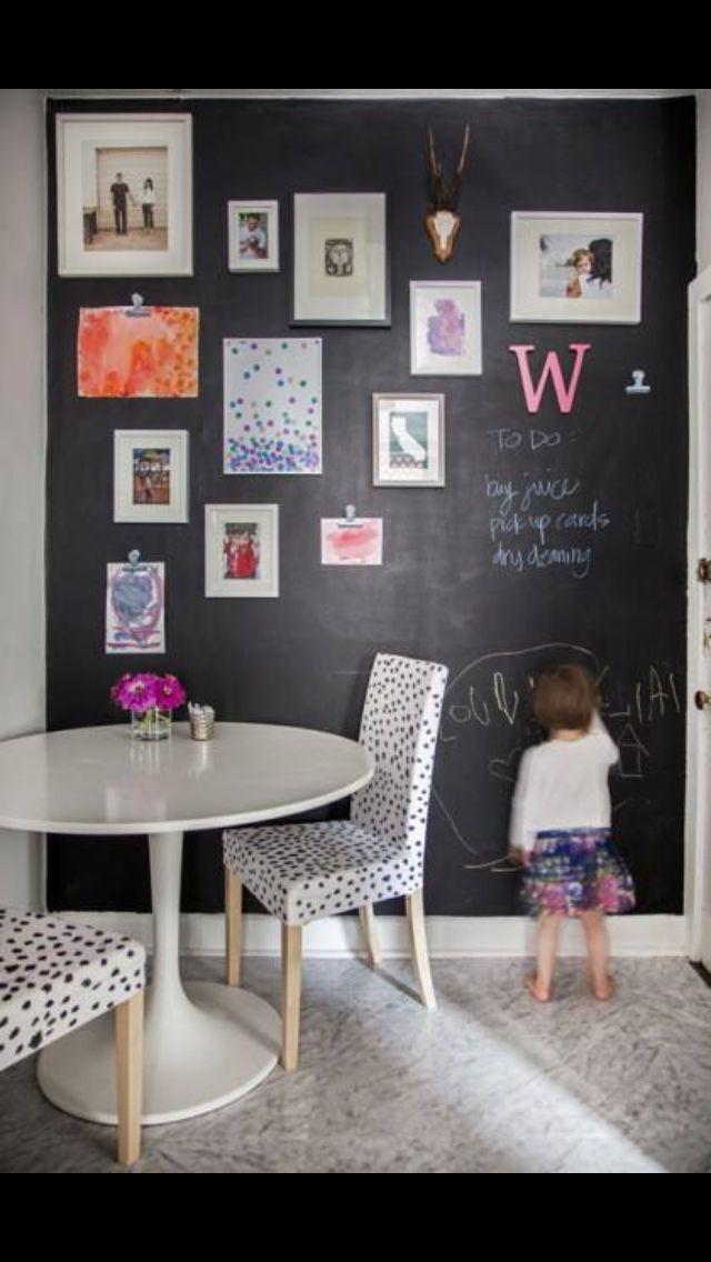 Chalkboard wall of fun & displaying kiddos' artwork.