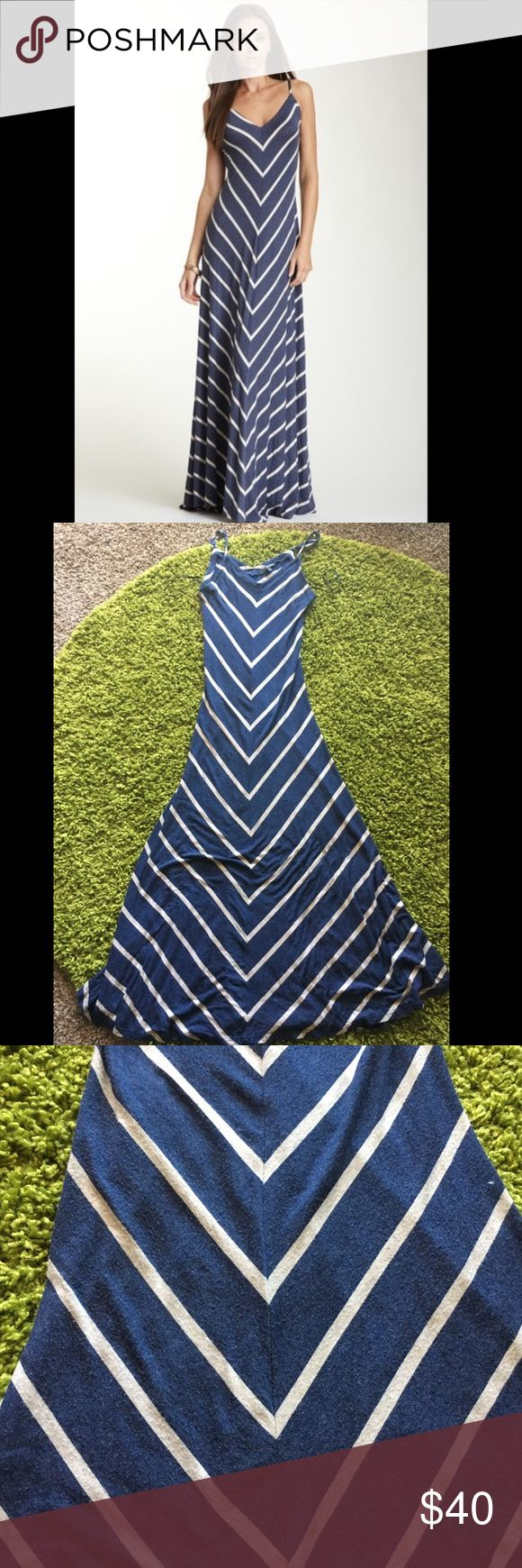 """Matty navy blue chevron maxi dress S Worn A few times - Adjustable Straps! Navy Blue Chevron Maxi Dress by Matty. 51"""""""" From The Underarm To The Bottom, Chest 13.5"""""""" But Can Stretch To 19"""""""". 92% Rayon 8% Spandex - size small...tagged free people for visibility only Free People Dresses Maxi"""