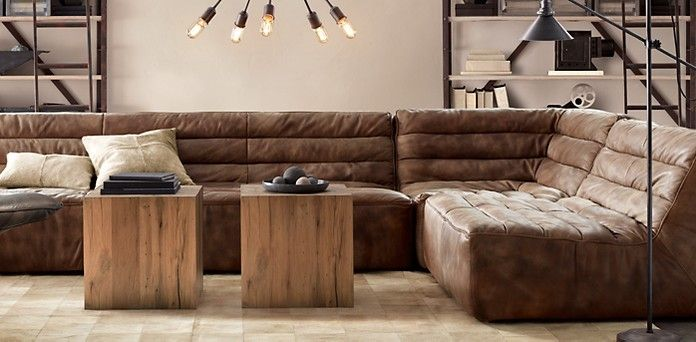 Leather Seating Restoration Hardware Lounge Area Pinterest Coffee Tables And Cubes