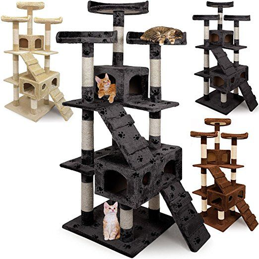Large Cat Tree with Scratching Post - Large 3 Platform Kitten Grey Scratcher Activity Centre Climbing Play Tower 5 ft 8 Sisal Furniture