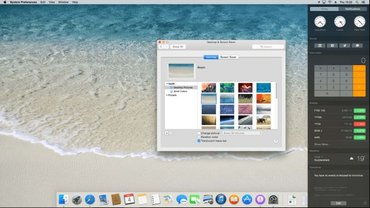 Mac OS Mavericks Home Screen