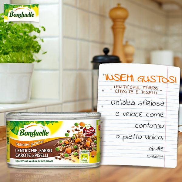 Lenticchie, #farro, #carote e #piselli di #Bonduelle è ideale come #contorno oppure come piatto unico equilibrato e completo. http://www.bonduelle.it/prodotti/mix-di-verdure/lenticchie-farro-carote-piselli/